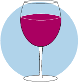An icon of a glass filled with red wine.