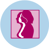 An icon for breast cancer showing 3 female figures with breast outline in side profile.