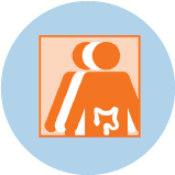 An icon for colorectal cancer showing 3 figures. The orange figure in front has an outline of the large intestine.
