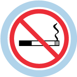 An icon of a lit cigarette. A red circle with a red diagonal line through it indicates no smoking.