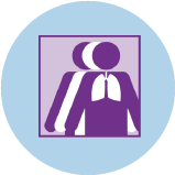 An icon for lung cancer showing 3 figures. The purple figure in front has an outline of the lungs.