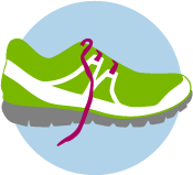 An icon of a green running shoe.