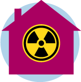 An icon of a house with a radiation symbol in the middle.