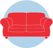 An icon of a red couch.