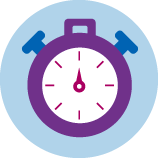 An icon of a purple stopwatch.