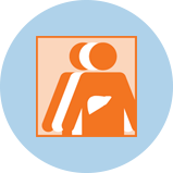 An icon for liver cancer showing 3 figures. The orange figure in front has an outline of the liver.