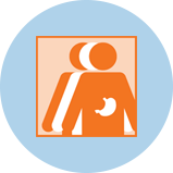 An icon for stomach cancer showing 3 figures. The orange figure in front has an outline of the stomach.