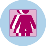An icon for cervical cancer showing 3 figures. The pink figure in front has an outline of the uterus.